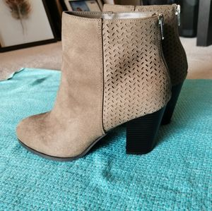 Taupe faux suede boots